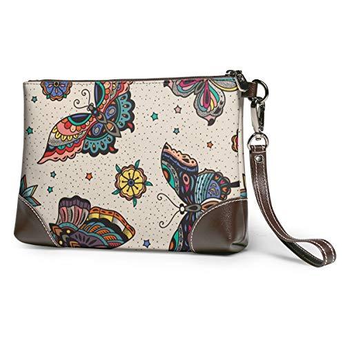Women's Leather Zipper Wristlet Butterfly Pattern Cellphone Card Wallets Clutch Holder Purse