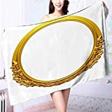 SOCOMIMI Soft bath towelgolden oval frame with ornaments in gold for pictures or mirror Easy care machine wash L55.1 x W27.5 INCH
