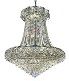Udell Chrome Modern 18-Light Hanging Chandelier Heirloom Grandcut Crystal in Crystal (Clear)-8344D30C-EC--30