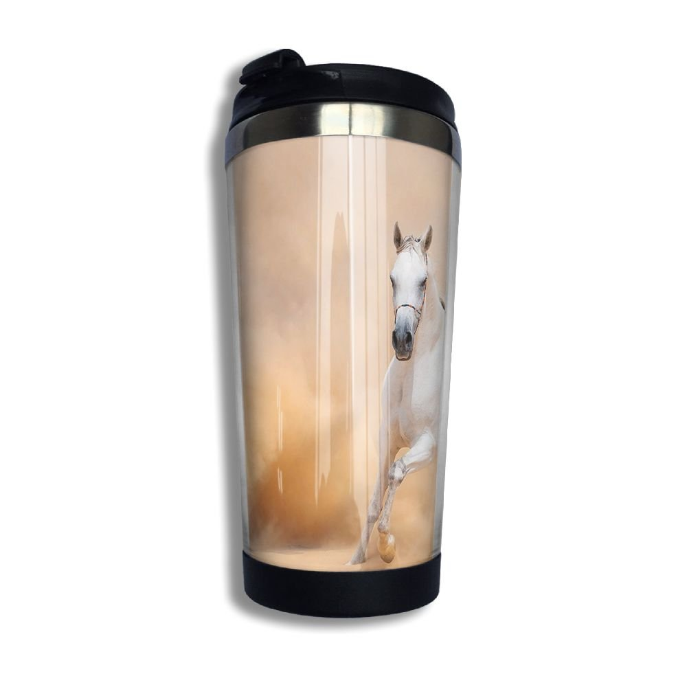 customgogo BPA Free Flip Cap Coffee Mug Double Wall Vacuum Travel Tumbler Animal Horse Travel Mug for Home,Office,School - Works Great for Hot and Cold Drink