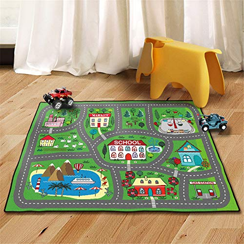 (Kids Rug Street Map Play Mat, Theme Park Educational Baby Area Rugs, City Life Cars Roads Child Large Carpet, for Playroom Nursery Bedroom Living Room Classroom (23''x 35'', School Yard))