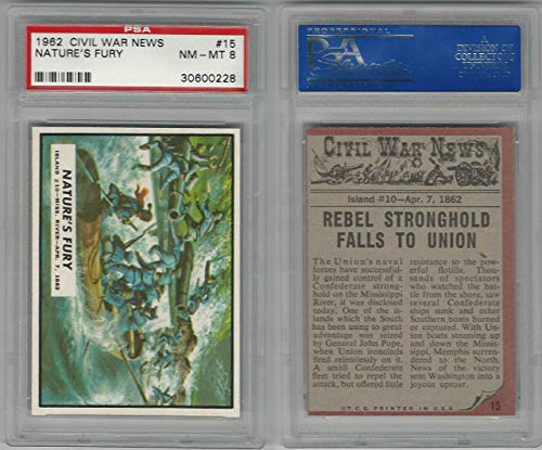 (1962 Topps, Civil War News, 15 Nature's Fury, Mississippi River,PSA 8 NMMT)