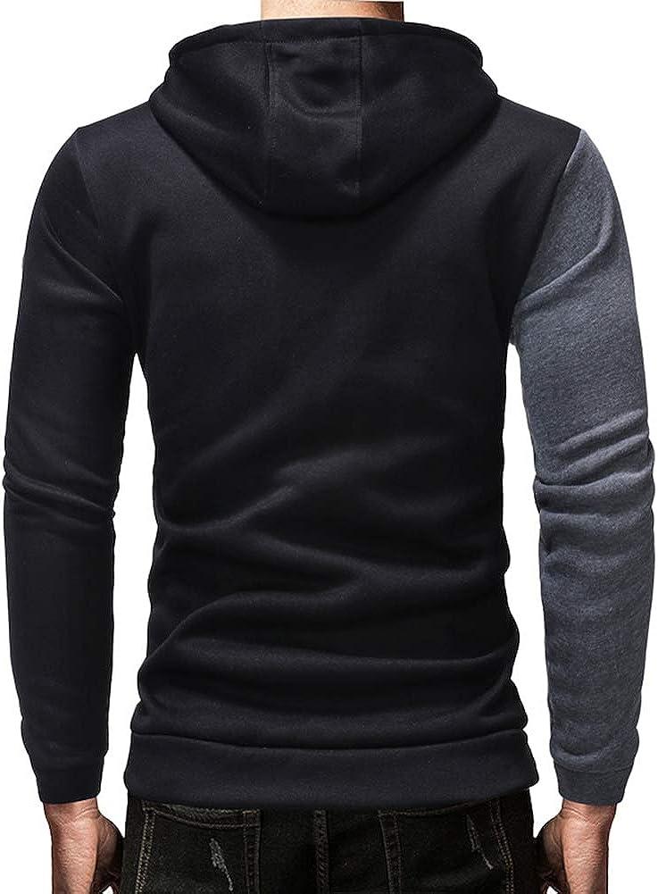 DSstyles Men Color Matching Casual Slim Hooded Sweatshirt
