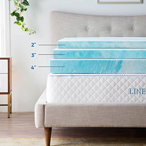 home, kitchen, bedding, mattress pads, toppers,  mattress toppers 10 on sale Linenspa 3 Inch Gel Swirl Memory Foam Topper deals