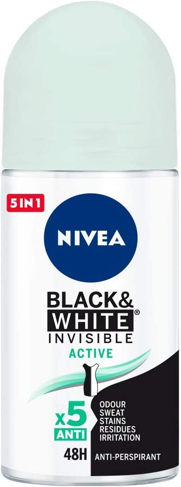 Oferta amazon: NIVEA Black & White Invisible Active Roll-on (1 x 50 ml), desodorante roll on antitranspirante para mujer, desodorante 48h con protección antibacterias