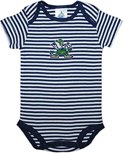 Creative Knitwear University of Notre Dame Fighting Irish Leprechaun Striped Baby Bodysuit Navy