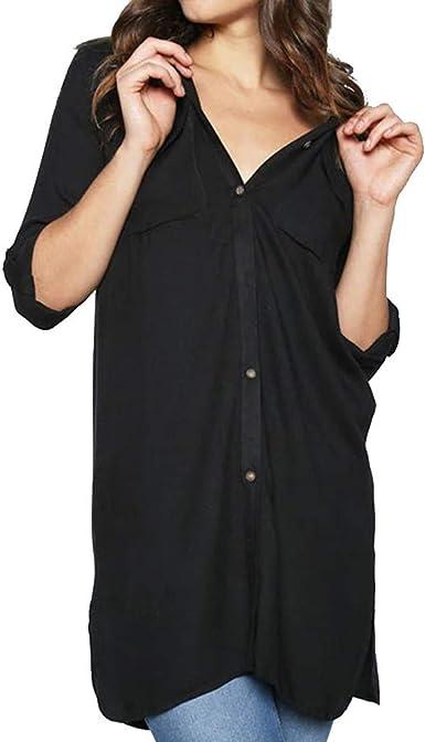 JURTEE Camisa Solid Color para Mujer Elegante Camiseta De Solapa con Bolsillo Manga Larga Blusa con Botones Tops: Amazon.es: Ropa y accesorios