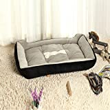 FFMODE Plush Pet Cat Dog Bed With Bone Printing 18-inch by 12-inch Black, XXS