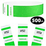Goldistock Select Series - 3/4'' Tyvek Wristbands Vivid Day Glow Neon Green 500 Count - Event Identification Bands (Paper - Like Texture)