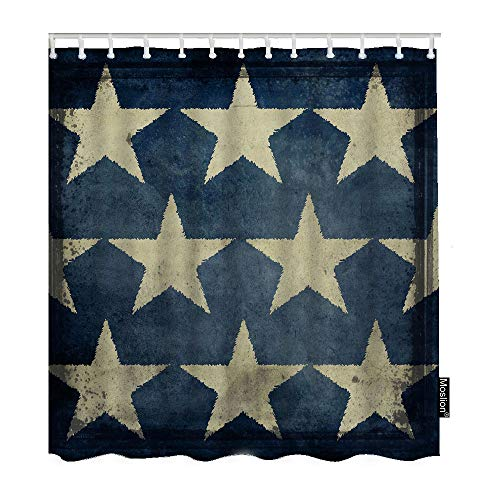 (Moslion Star Bathroom Shower Curtain Antique American Flag Stars Patriotic Memorial Day Fourth of July Shower Curtains Home Waterproof Polyester Fabric Curtain with Hooks 72x72 Inch Blue Beige)