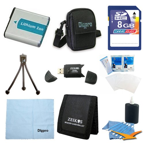 NB-4L Battery 9 pc Professional Kit 8GB SD Card & USB Reader Table-top Tripod Lens Cleaning Kit Screen Protectors Memory Card Wallet Micro Fiber Cloth Canon Powershot ELPH 100 330 300 310 SD200