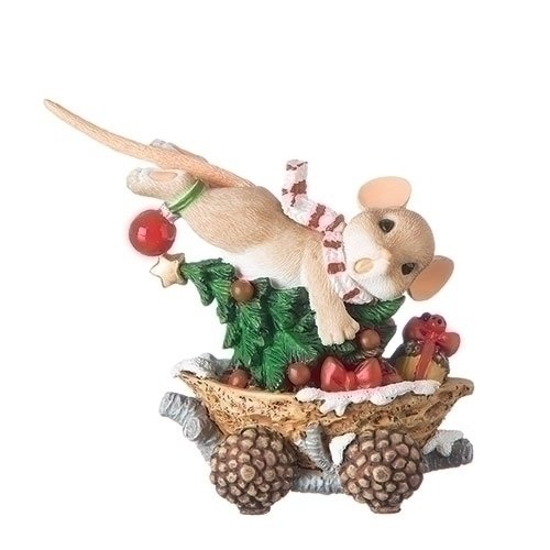 Charming Tails Mouse in Walnut Caboose 3.5 Inch Resin Stone Holiday Tabletop Figurine