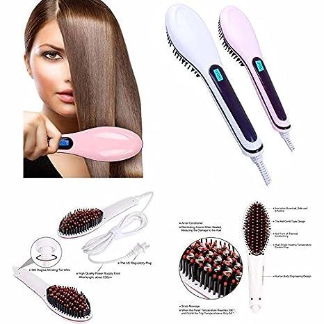 Amazing eléctrico alisador de cabello LCD automático peine cepillo de pelo masajeador antiquemaduras herramienta: Amazon.es: Belleza