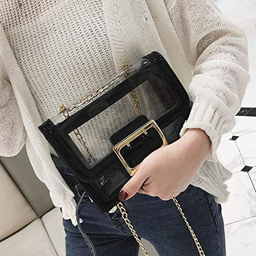 Handtassen Schouder Moontang Pvc Bag Retro Maat Zwart Revers kleur Zilver Messenger Keten Cross Dames EqFSTYnwTR