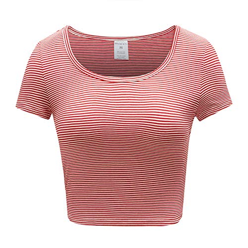 - OThread & Co. Women's Cotton Crop Top Striped Scoop Neck Cap Sleeve Shirt (Medium, Red&White1)