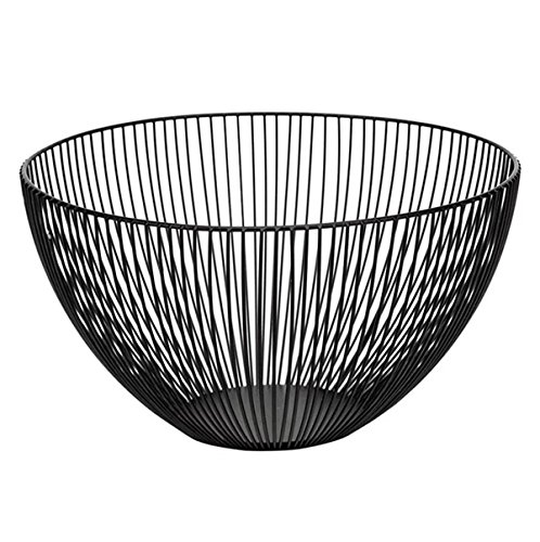 (Wire Fruit Basket, Round Black Metal Fruit Vegetable, Egg, Bread Storage Bowl Holder Stand for Kitchen Counter, Cabinet and Pantry - Large)