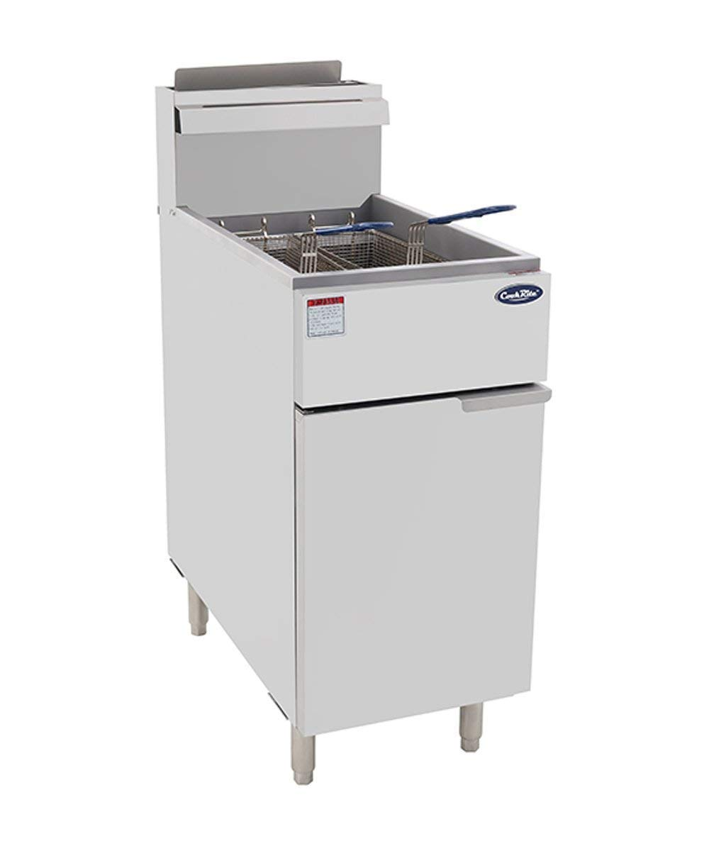 CookRite ATFS-40 Commercial Deep Fryer with Baskets 3 Tube Stainless Steel Liquid Propane Floor Fryers-90000 BTU