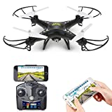 Holy Stone HS110W FPV Drone with 720P HD Live Video Wifi Camera 2.4GHz 4CH 6-Axis Gyro RC Quadcopter with Altitude Hold, Gravity Sensor and Headless Mode Function RTF, Color Black Picture