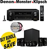 Denon AVR-X1200W 7.2 Channel Full 4K Ultra HD A/V Receiver with Bluetooth and Wi-Fi + Klipsch HDT-600 Home Theater System + Monster - Platinum XP Clear Jacket MKIII 50' Compact Speaker Cable - Clear/Copper Bundle