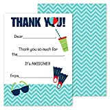 Pool Party Kids Thank You Note Card Pack - Set of 20 fill in the blank cards with envelopes