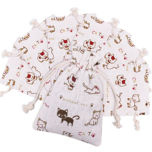 Canitor 30pcs Lovely Cute Cat Pattern Burlap Bags with Double Drawstring, Pefect Linen Gift Bags for Jewelry Pouch,Wedding Parties,Birthday Parties,Gift/Candy Cream Jars Bags, 3.7 x 5.3 inch Reusabl -