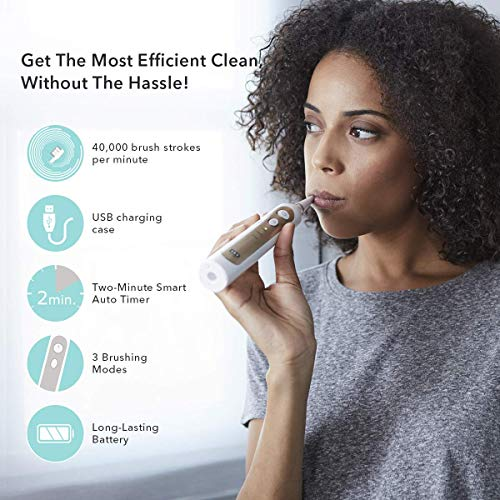 Smile Bright Store Elite Electric Sonic Toothbrush with USB Sanitizing Storage Case, Charcoal