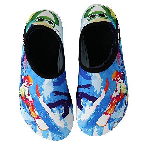 EQUICK Water Sports Shoes Barefoot Quick-Dry Aqua Socks Slip-on for Men Women Kids,CL1801,T.blue1,30.31
