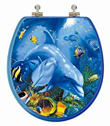 TOPSEAT 6TS3R1151CP 3D Ocean Series Dolphin Mother and Calf Round Toilet Seat