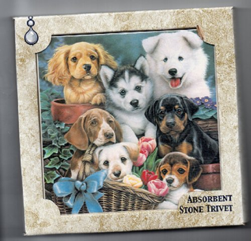 T-619 Lots of Puppies~ Artworks Home Accents ~ Absorbastone Tile Trivet