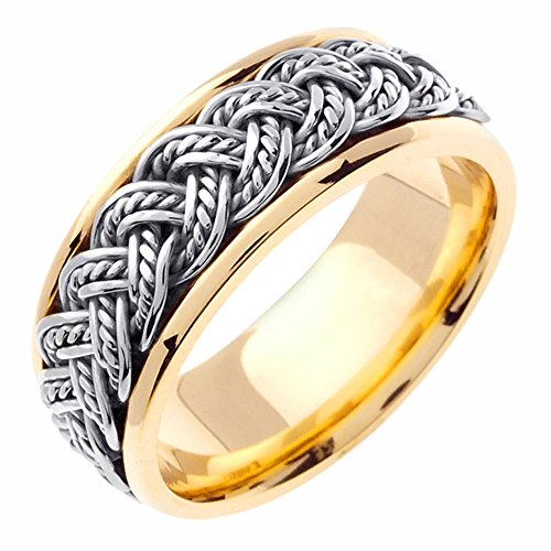 8mm 14K Two Tone Gold Braided Rope Comfort Fit Wedding Band Available Size (5 to 14) Size (Rope Comfort Fit Wedding Band)