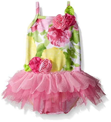 Kate Mack Baby Girls' Radiant Roses One Piece Swimsuit with Skirt, Multi, 6 Months by Kate Mack
