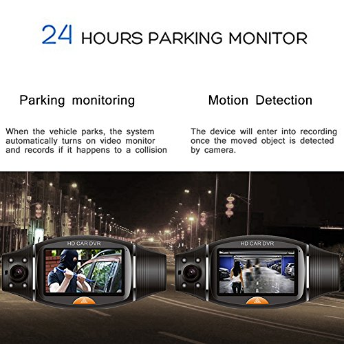 THINK SOGOOD 27 Dual Lens Dash Cam 720P Car DVR With 140 Front Wide Angle And 120 Rear Wide Angle Driving Recorder With G Senor Loop Recording Night Vision GPS Motion Detection