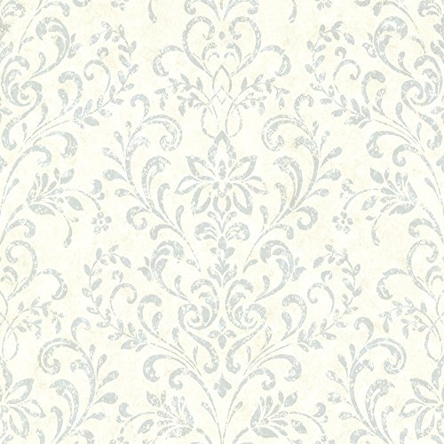 - Chesapeake CTR663414 Presley Blue Country Damask Wallpaper