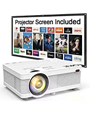 QKK Projector, AK-81 Mini Projector with Projection Screen, 3600 Lumen Video Projector Supports 1080P Full HD, Compatible with TV Stick, PS4, HDMI, VGA, SD, AV and USB, Home Theater Projector, White.