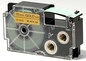 Casio Europe XR-18GD1 - Cinta para etiquetadora (18 mm), color negro sobre dorado