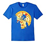 Pizza Moon Bicycle T-Shirt Medium Royal Blue