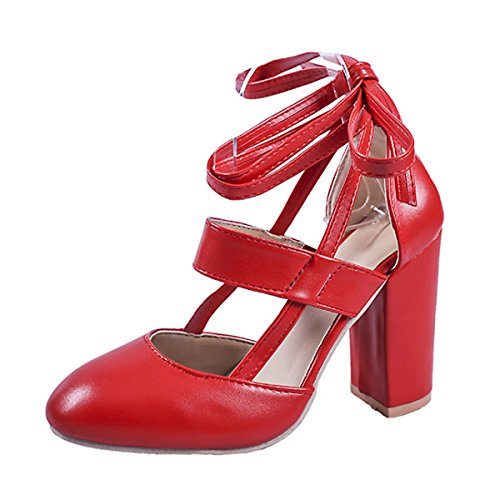CHNHIRA Ladies Womens Party High Block Heel Sandals Shoes Red gRuoy2I