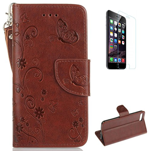 Flower Donut Gem - iPhone 7 Plus 5.5'' PU Leather Wallet Case [Free Screen Protector],KaseHom Butterfly Daisy Flower Patten Embossed Folio Magnetic Flip Stand Leather Protective Case Cover Skin Shell,Brown