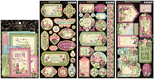 Graphic 45 - Bloom Collection - Chipboard Die-Cuts, Cardstock Tags & Pockets, Stickers and Ephemera Cards - 4 Items ()