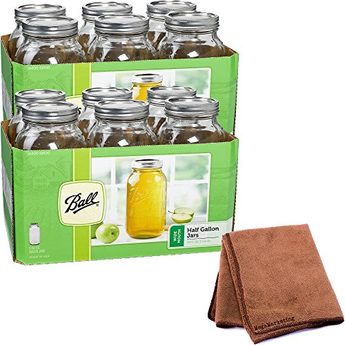 Ball Wide Mouth 1/2 Gal. Glass Jars 12 Pack | Includes lids with bands (64 OZ) with Cleaner Cloth