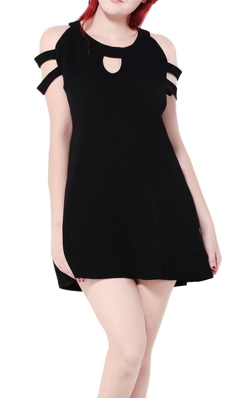 Bigood Plus Size Schulterfrei Ohne Armel Damen Cocktailkleid Party Kleid Minikleid Schwarz