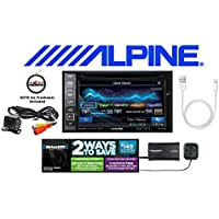 Alpine Navigation DVD CD Receiver w/ 6.1 Monitor, SiriusXM Satellite Radio, Backup Camera, Lightening to USB Cable and a FREE SOTS Air Freshener