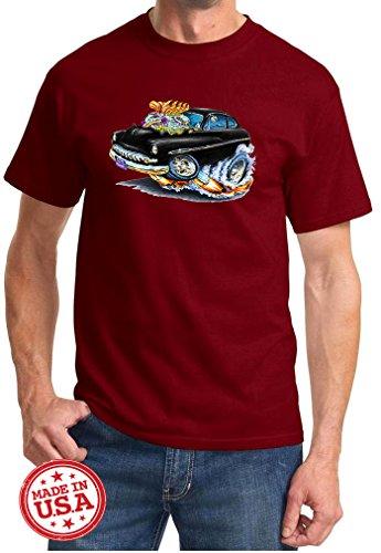 Mercury 1950 Coupe (Maddmax Car Art 1950 1951 Mercury Coupe Cartoon Muscle Car Design Tshirt Small Maroon)
