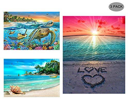 5D Diamond Painting Full Drill Kit, Annomor DIY Rhinestone Painting Embroidery Arts Craft Wall Decor Birthday Wedding Gift (3 Pack-Sea Turtle,Beach&Conch,Love)