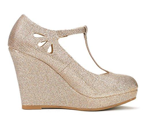 DREAM PAIRS Womens Ash Wedge Heel Platform Pumps Shoes Gold Glitter GvfliO