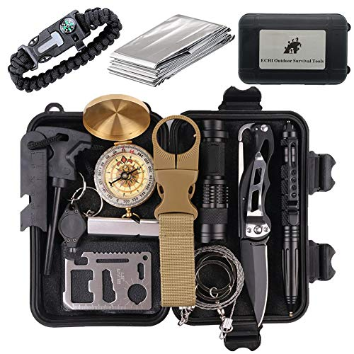 ECHI Survival Kit, EDC Outdoor Emergency Tactical Survival Tool for Boy Scout Camp, Cars, Camping, Hiking, Hunting, Adventure Accessories (13 in - Boys Little Kit
