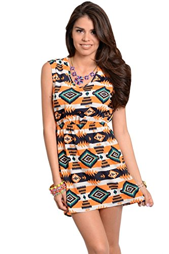 Aztec Print Dress with Cutout Back