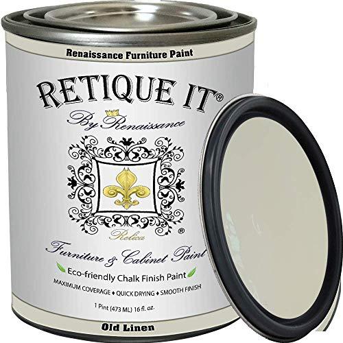 Retique It Chalk Furniture Paint by Renaissance DIY, 16 oz (Pint), 22 Old Linen, 16 Ounces