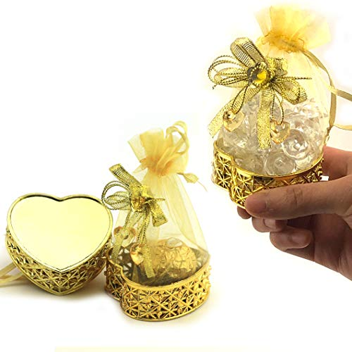 JC HUMMINGBIRD 48PC Fillable Heart Crown for Table Decorations, Party Favors, Candies, Wedding