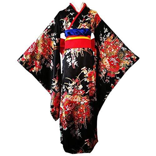 Anshuo Japanese Cherry Kimono Anime Cosplay Costume Lolita Dress (S) -